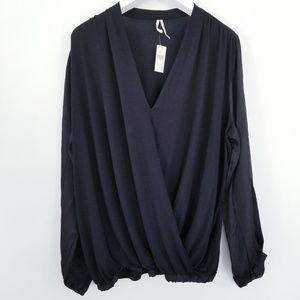 Anthropologie Black Secret Wrap Long Sleeve Top XL